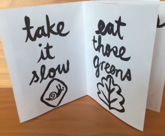 take it slow. eat those greens. Advice from a snail by kate austin